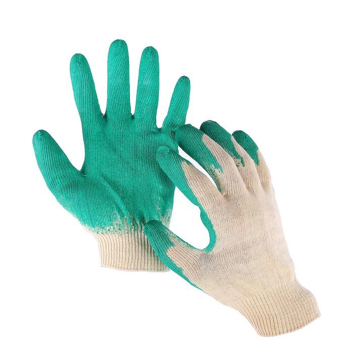 Перчатки, х/б, вязка 13 класс, размер 10, с латексным обливом, зелёные