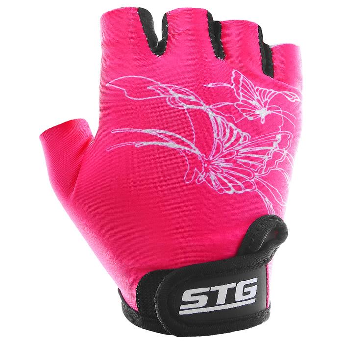 Перчатки велосипедные детские STG, размер M, цвет розовый