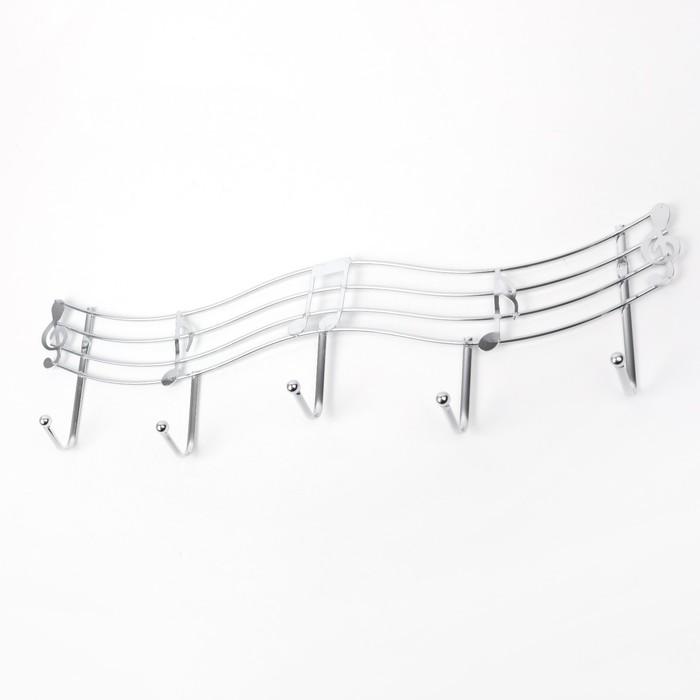 "Вешалка на 5 крючков 45×13×3.5 см ""Мелодия"", цвет серебро"