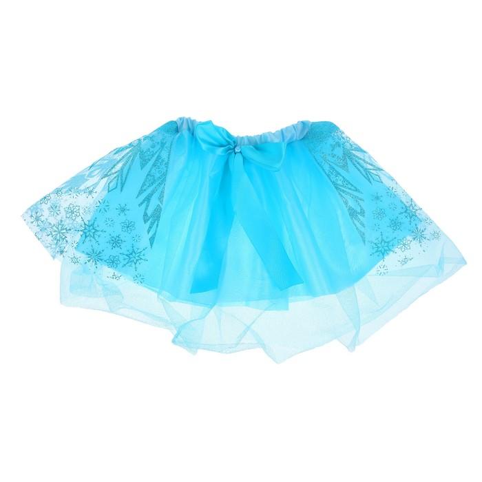 Карнавальная юбка «Снежинка», двухслойная, цвет синий