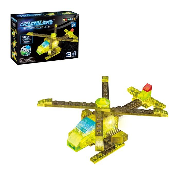 Светящийся конструктор Crystaland «Вертолёт», 3 в 1, 52 детали