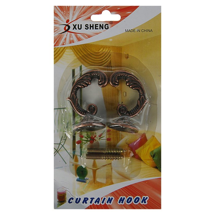 Крючок для штор KS002, однорожковый, цвет медь