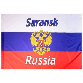 Russian flag with the coat of arms, Saransk, 90x150 cm, polyester