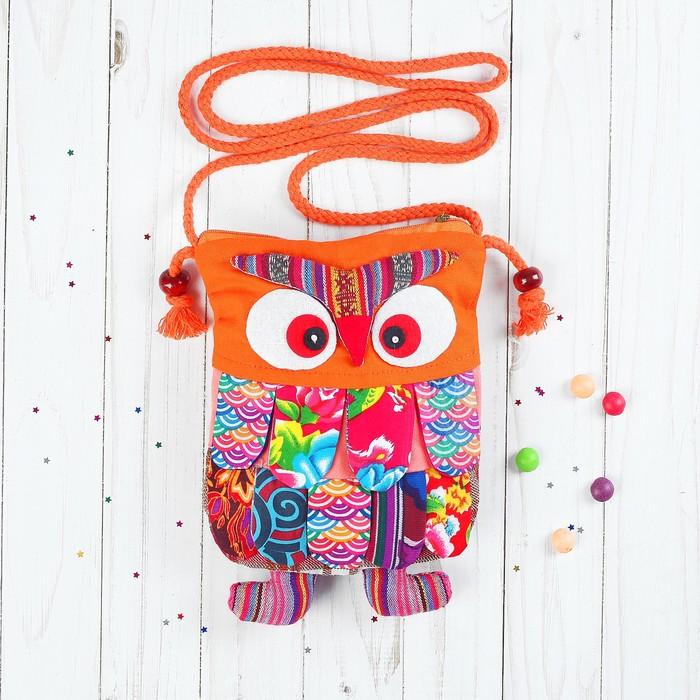 Мягкая сумочка «Совушка», лоскутная, 22 см, цвета МИКС