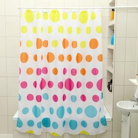 Штора для ванной комнаты Доляна «Цветное драже», 180×180 см, полиэстер