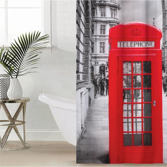 Штора для ванной комнаты Доляна «Лондон», 180×180 см, полиэстер