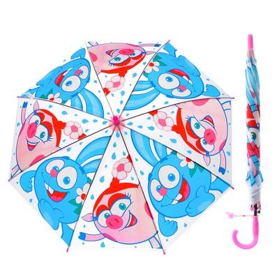 """Зонт детский прозрачный """"Смешарики"""", r= 50 см, со свистком"""
