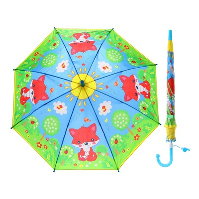 "Зонт детский ""Лисички"", r=45 см, со свистком"