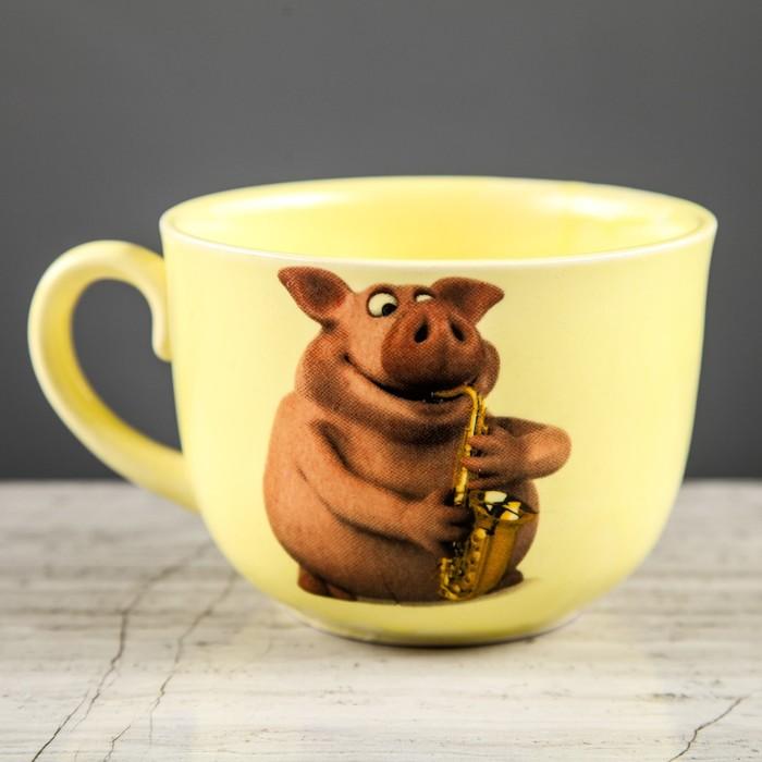 "Бульонница 0,5 л ""Аппетитка"", желтая, свинки, деколь, микс, символ года 2019"