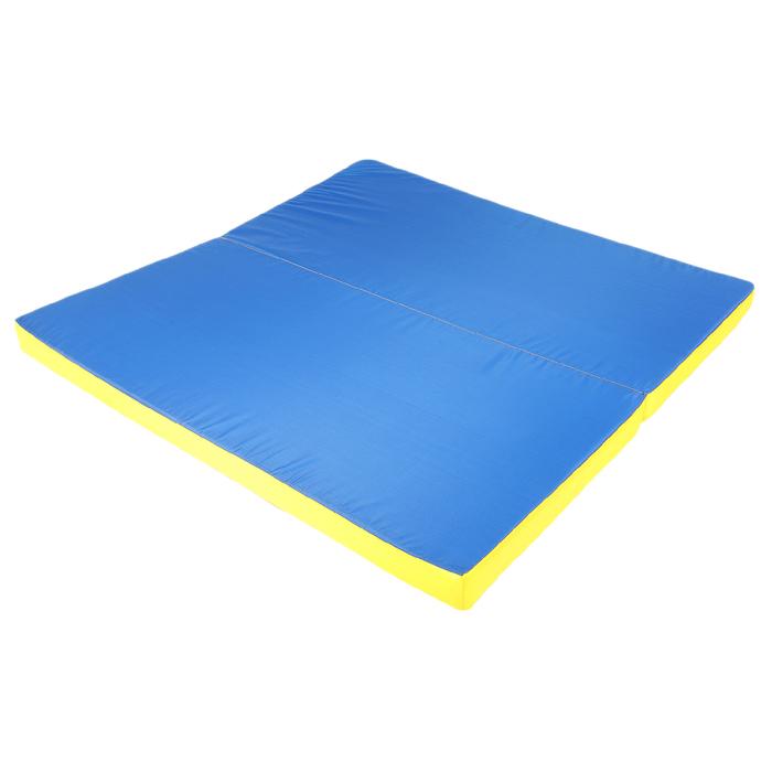 Мат 100х100х6 см, 1 сложение, oxford, цвет жёлтый/синий