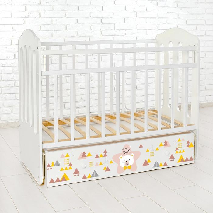 Детская кроватка «Мишка» на маятнике, с ящиком, цвет белый - фото 915573