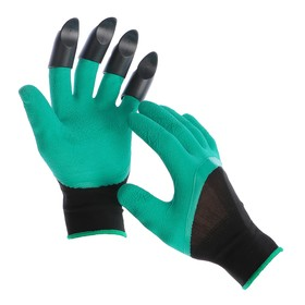 """Garden nylon gloves """"Shrews"""" for left-handed people, with latex impregnation, with claws, green"""