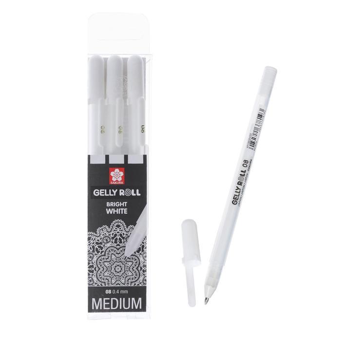 Ручка гелевая для декоративных работ, набор 3 штуки, Sakura Gelly Roll 0.5/0.8/1.0 мм, белый