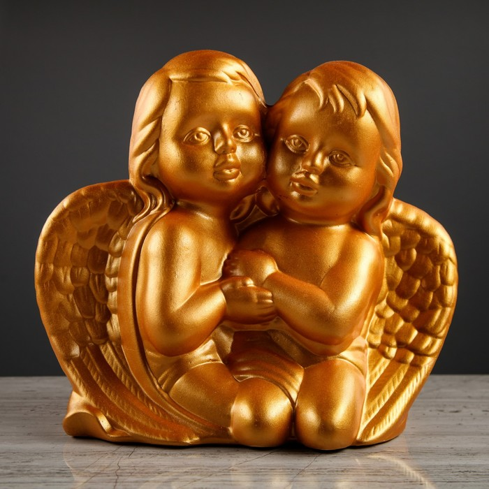 """Статуэтка """"Ангелочки"""" золотые, глянец"""