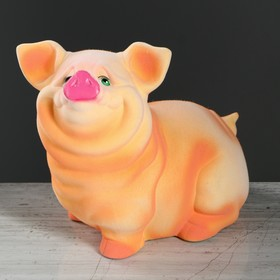 """Копилка """"Свинка Нюся"""", флок, бежевый цвет, 24 см"""