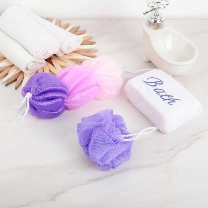Набор банный 3 предмета (3 мочалки) цвет МИКС
