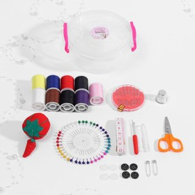 Sewing kit in plastic box