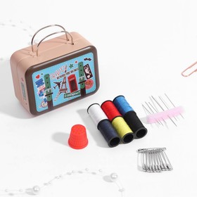 Sewing kit in metal box, MIX color