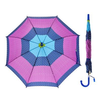 Зонт цветной 45см, горошек, ткань, со свистком МИКС UM45-PRBW