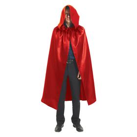 Карнавальный плащ с капюшоном, длина 120 см, цвет красный