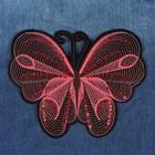 Термоаппликация «Бабочка», с пайетками, 15,5*12 см, цвет красный