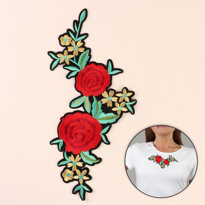 Термоаппликация «Цветы», 18 × 13 см, цвет красный