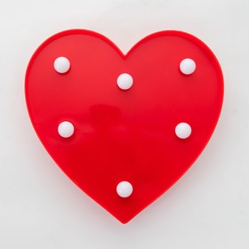 "Ночник пластик от батареек 2АА ""Красное сердце"" 16х16х2,8 см"