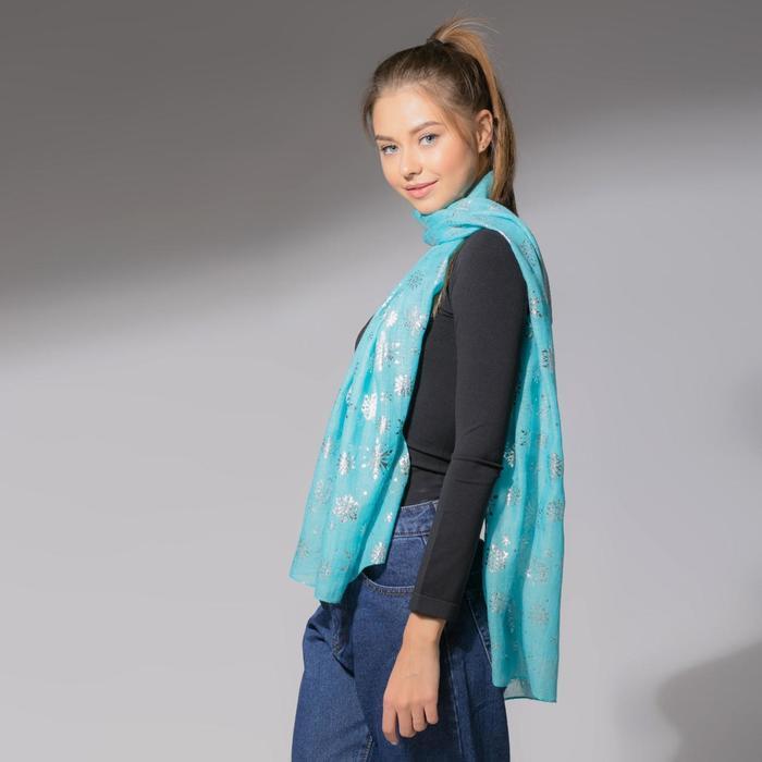 """Шарф """"Снежное настроение"""", размер 48 х 180 см, цвет голубой/серебро"""