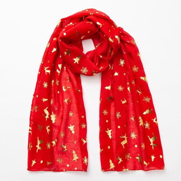 """Шарф """"Новогодние друзья"""", размер 48 х 180 см, цвет красный/золото"""