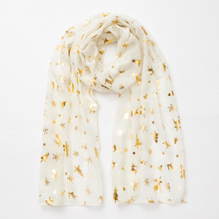 """Шарф """"Новогодние друзья"""", размер 48 х 180 см, цвет белый/золото"""