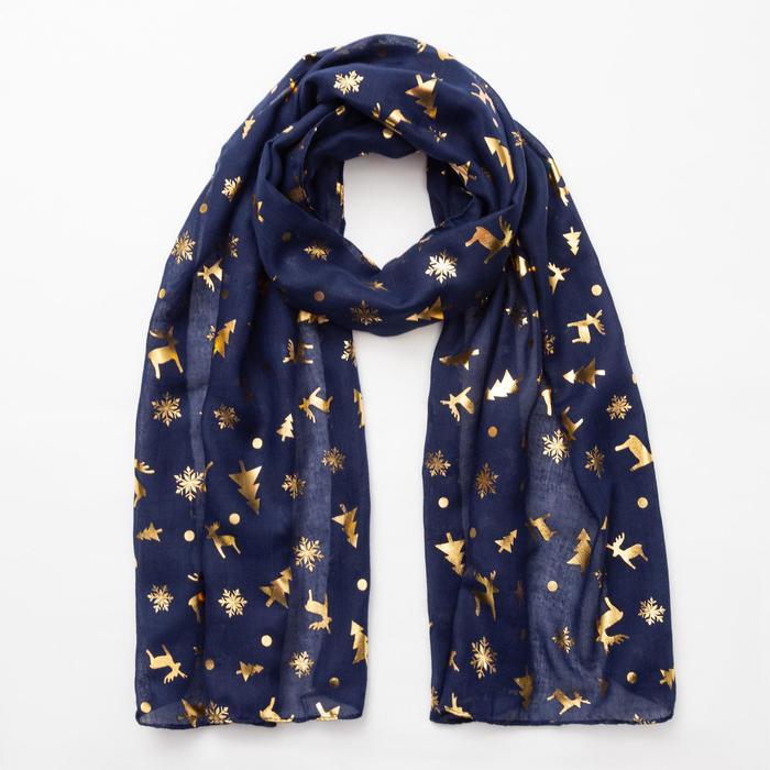"""Шарф """"Новогодние друзья"""", размер 48 х 180 см, цвет синий/золото"""