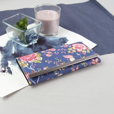 Кошелёк женский, 3 отдела, для карт, на клапане, цвет синий