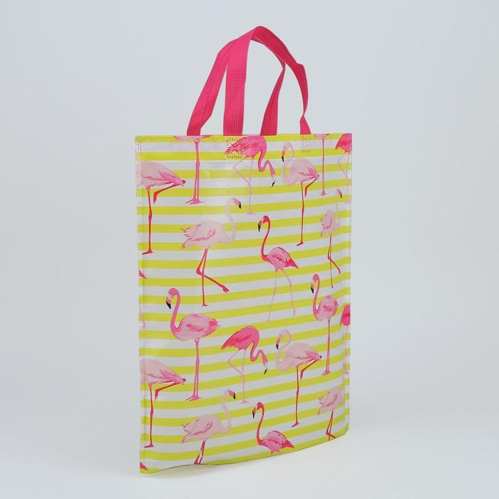 Сумка хозяйственная «Фламинго», отдел без молнии, цвет жёлто-белый/розовый