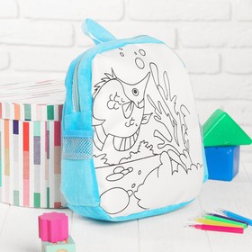 """Backpack with a picture under the painting """"Fish"""" + markers 5 colors, MIX colors"""