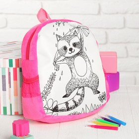 """Backpack with a picture under the signature """"Raccoon"""" + markers 5 colors, MIX colors"""