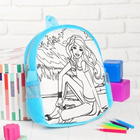 """Backpack with a picture under the painting """"Girl"""" + markers 5 colors, MIX colors"""