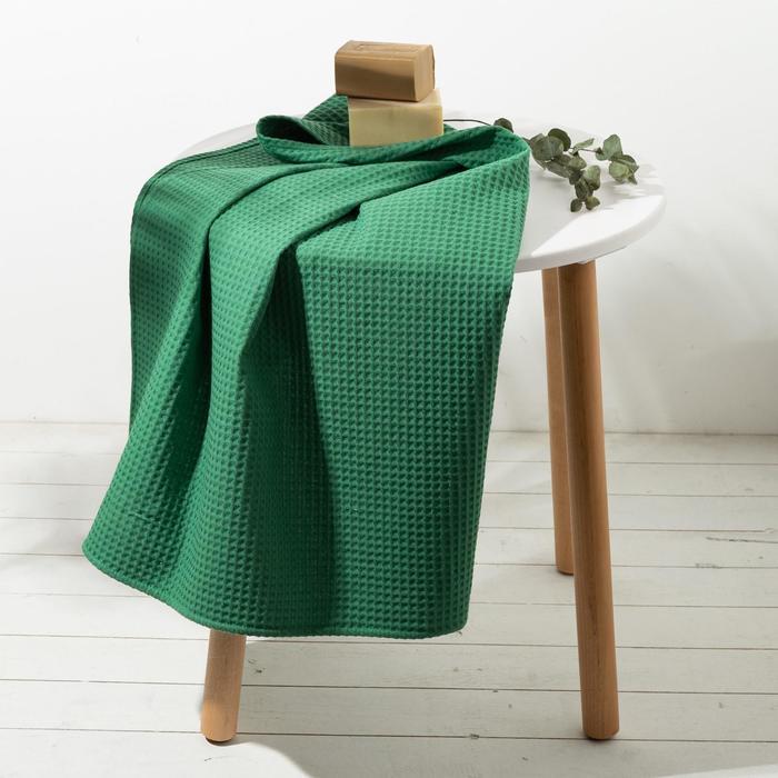 """Полотенце вафельное """"Этель"""" 70х140 см. цвет зелёный, 100% хл, пл 240 г/м²"""