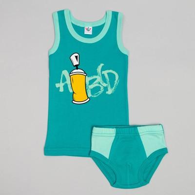 Комплект для мальчика (майка, трусы-боксеры), рост 86 (52) см, цвет бирюзовый/бирюзовый 3251   34457