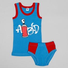 Комплект для мальчика (майка, трусы-боксеры), рост 92 (52) см, цвет голубой/красный 3251_М Ош