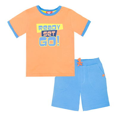 Комплект для мальчика (футболка+шорты), рост 110 (60) см, цвет оранжевыйголубой 4218