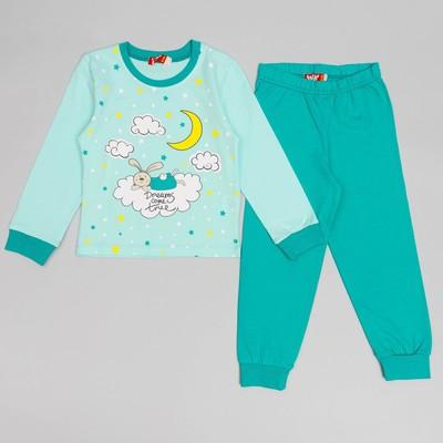Пижама для девочки, рост 92 (52) см, цвет светло-ментол/тёмно-ментол 9153_М