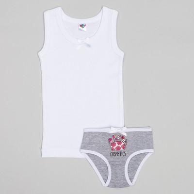 Комплект для девочки (майка, трусы), рост 86 (52) см, цвет белый/серый 3160_М