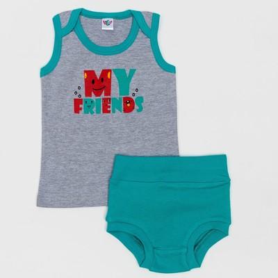 Комплект для мальчика (майка, трусы), рост 80 (52) см, цвет серый 3245_М