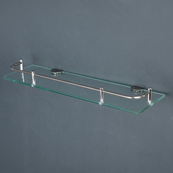 Полка для ванной комнаты, 40×12×6 см, нержавеющая сталь, стекло