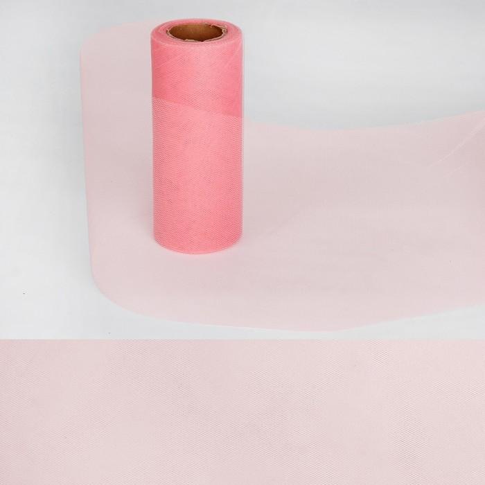 Ткань для декорирования, длина 22 метра, ширина 15 см, цвет нежно-розовый