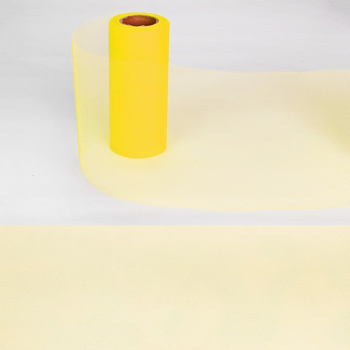 Ткань для декорирования, длина 22 метра, ширина 15 см, цвет жёлтый