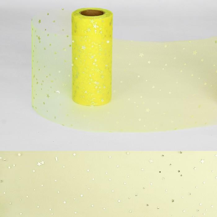 """Ткань для декорирования """"Звёздочки"""", длина 22 метра, ширина 15 см, цвет жёлтый"""