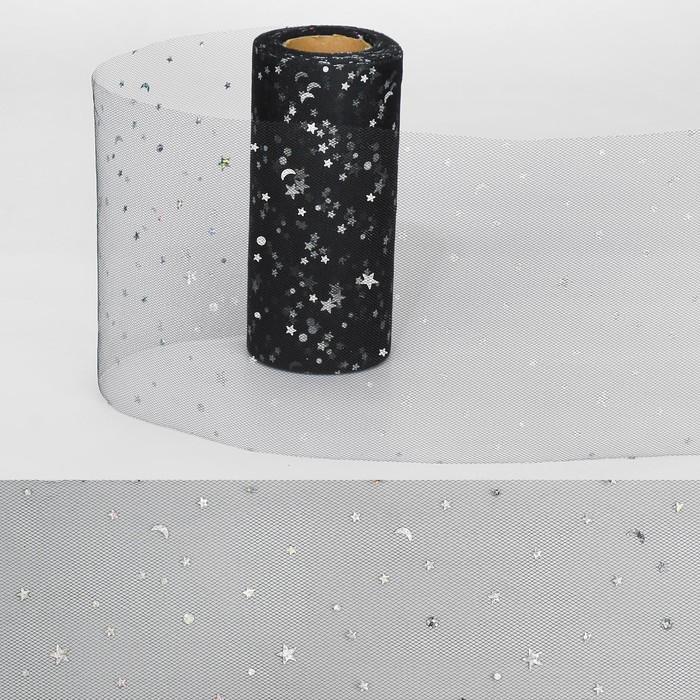 """Ткань для декорирования """"Звёздочки"""", длина 22 метра, ширина 15 см, цвет чёрный"""