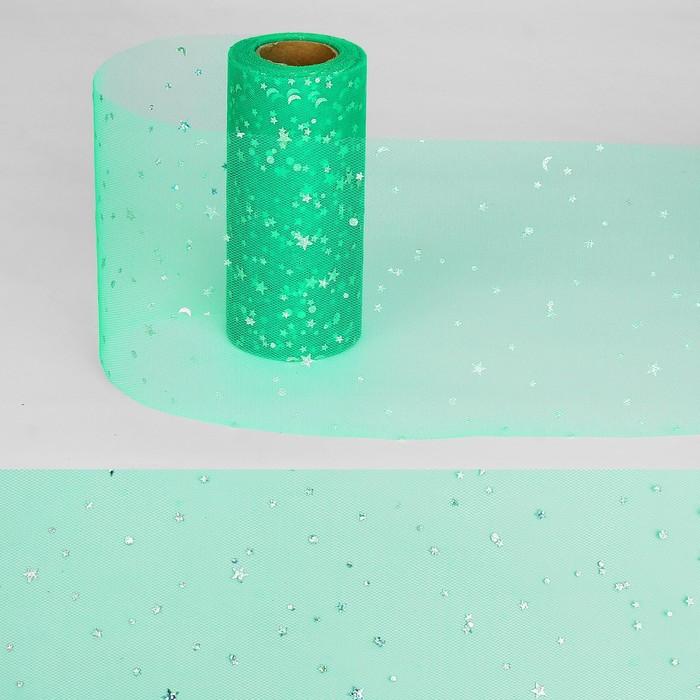 """Ткань для декорирования """"Звёздочки"""", длина 22 метра, ширина 15 см, цвет зелёный"""