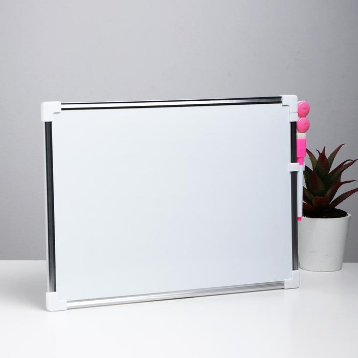 Доска магнитная двухсторонняя, 36 × 25 см, маркер и магниты в наборе, без креплений - фото 369526713